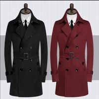 Высокое качество 2018 новые дизайнерские мужские тренчи человек пальто мужчины двубортный одежда Тонкий Пальто Длинные рукава весна осень
