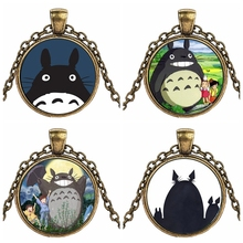 Caxybb Hot sale Cute Kawaii Japanese Anime Cartoon My Neighbor Totoro Necklace Pendant For Women Crystal Jewelry Animal necklace