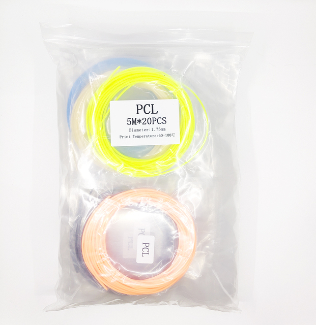 QCREATE 1.75mm PLA ABS PCL Plastic Filament for 3D Pen 3D Printer 20 Colors 5 Meters Vacuum Packed 3D Printing Consumables