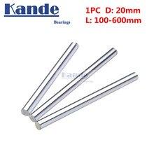 Подшипники Kande 1 шт. d: 20 мм 3D принтер стержень вал 20 мм 100-600 мм линейный вал 100 мм хромированный стержень вал части ЧПУ