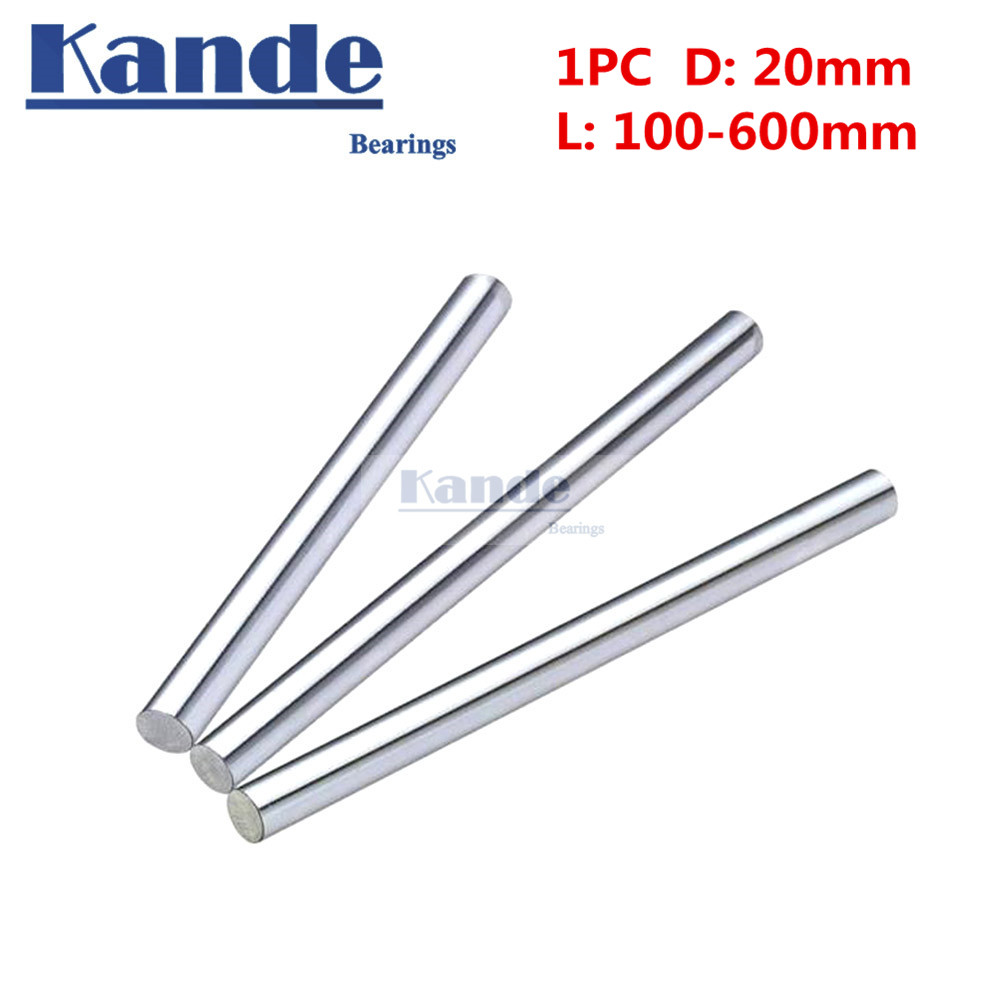 Kande Bearings 1pc d:20mm  3D printer rod shaft 20mm  100-600mm  linear shaft 100mm chrome plated rod shaft CNC partsKande Bearings 1pc d:20mm  3D printer rod shaft 20mm  100-600mm  linear shaft 100mm chrome plated rod shaft CNC parts