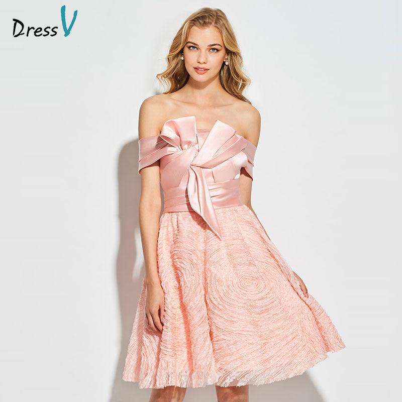 Dressv Light Pink Cocktail Dress Elegant Off The Shoulder Zipper Up Sleeveless Lace Wedding Party Formal Dress Cocktail Dresses