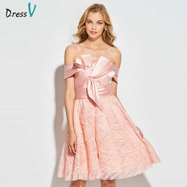 0861fd1c8 Dressv luz Rosa vestido de cóctel elegante fuera del hombro cremallera sin  mangas encaje vestido de