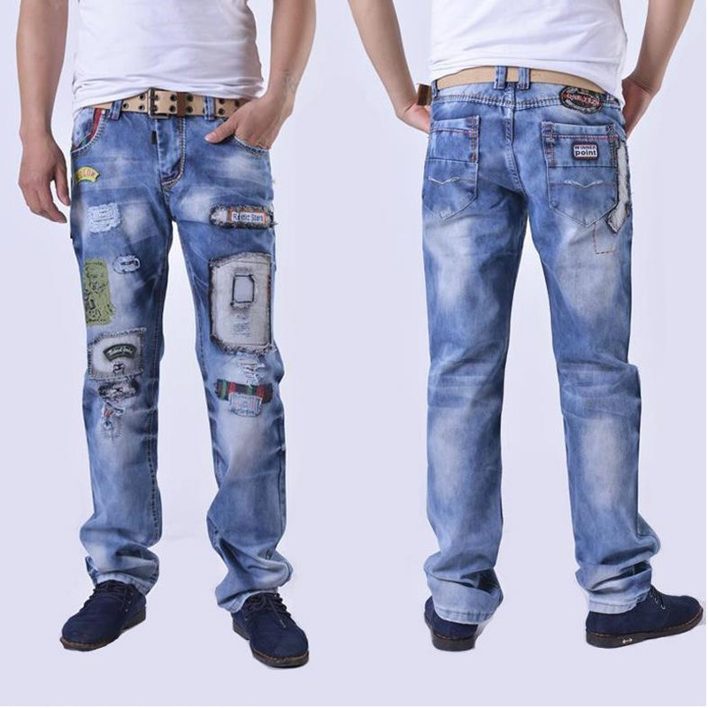 2016 new  personality popular clothing style hole patch jeans autumn and winter fashion men straight beggar trousers blue  цены онлайн