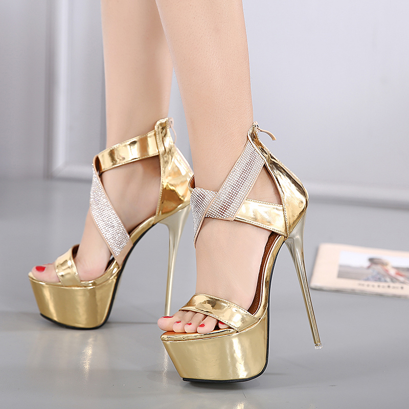 15507b8400b ankle strap heels platform sandals party shoes for women gold wedding  sandals women pumps high heels sandals crystal shoes D946