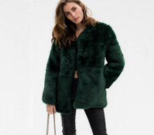 2017 Winter warmed faxu fur coat Fashion slim overcoat S-3XL plus size women