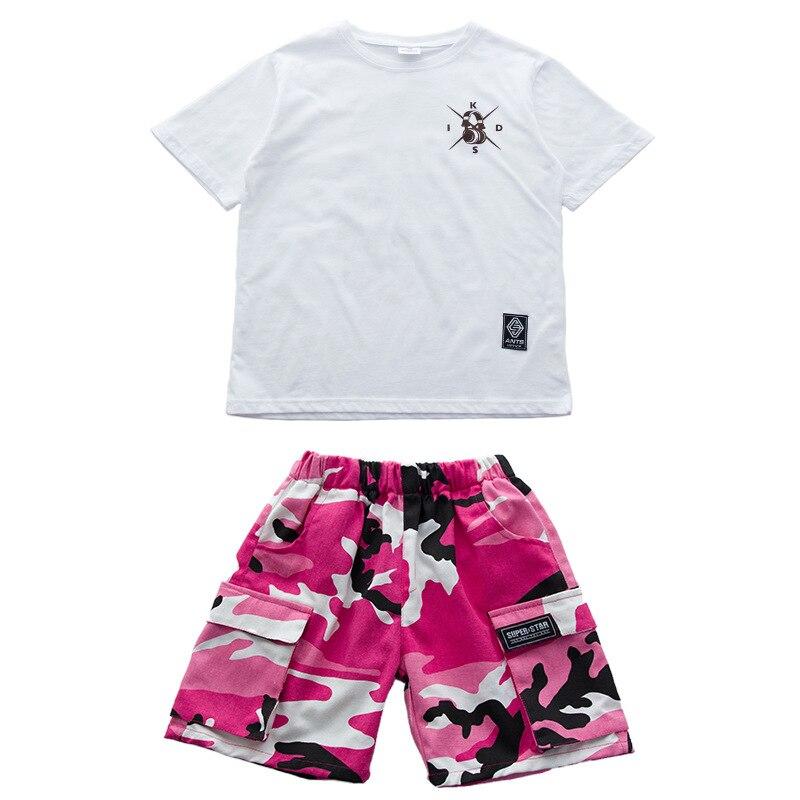 Розовая камуфляжная одежда для бальных танцев в стиле хип-хоп детская джазовая улица хип-хоп танцевальный костюм футболка штаны костюм для детей мальчиков и девочек - Цвет: Suit 1