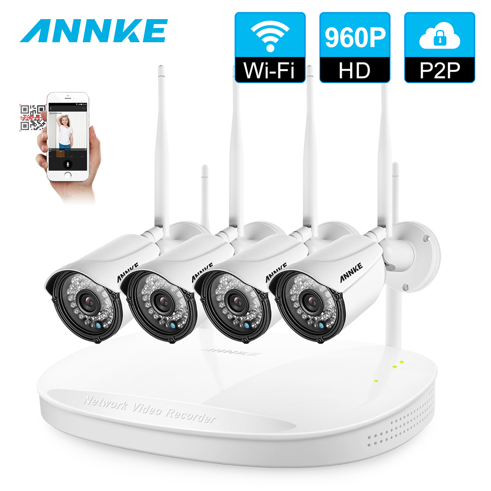 ANNKE 4CH CCTV System Wireless 1080P NVR 4PCS 960P Outdoor Smart IR CUT P2P Wifi IP CCTV Security Cam System Surveillance Kit techege 4ch cctv system wireless 960p nvr 4pcs 1 3mp ir outdoor p2p wifi ip cctv security camera system surveillance kit 1tb hdd