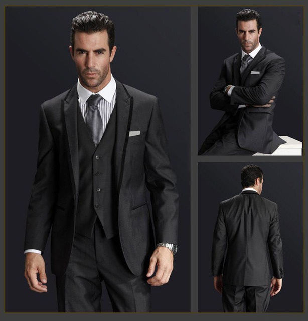 FOLOBE Custom Made Dark Gray Men Wedding Suite Groom Tuxedos Suits ...