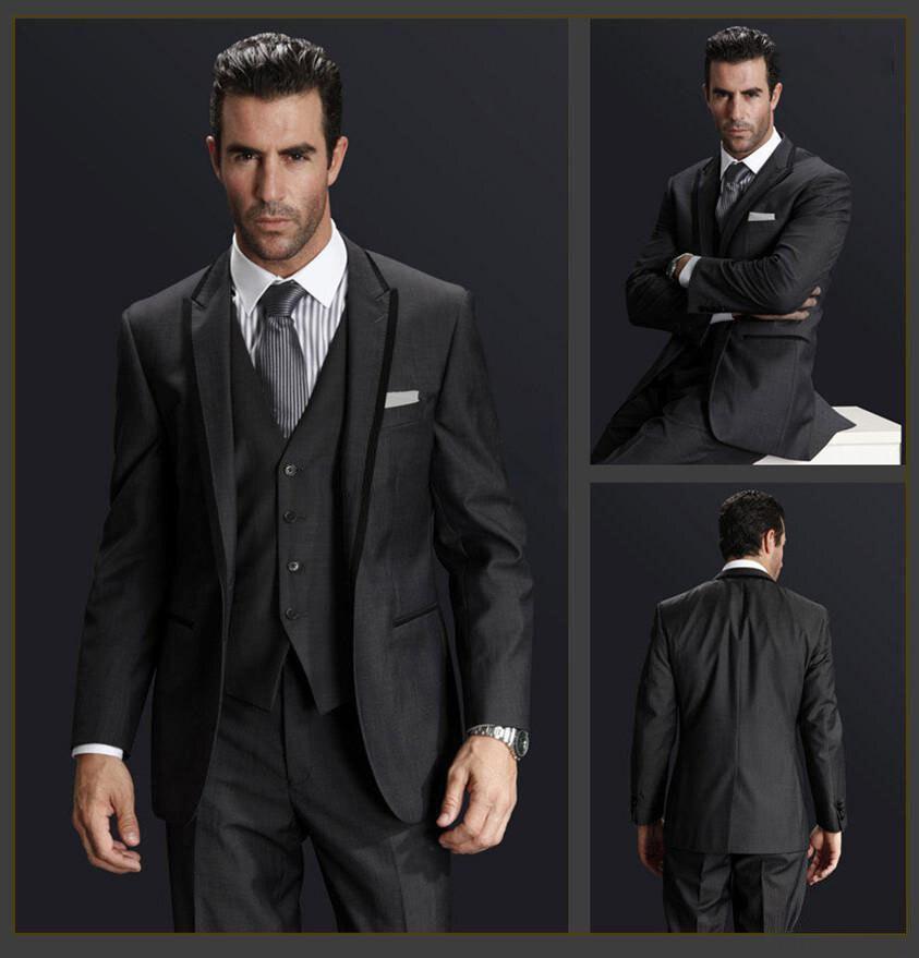 folobe custom made dark gray men wedding suite groom tuxedos suits herringbone retro gentleman suits formal