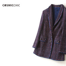 Luxury Colour Braided Wool Tweed Jacket With Pocket Long Sleeves Formal Coat High Quality Elegant Casaco Feminino LY105