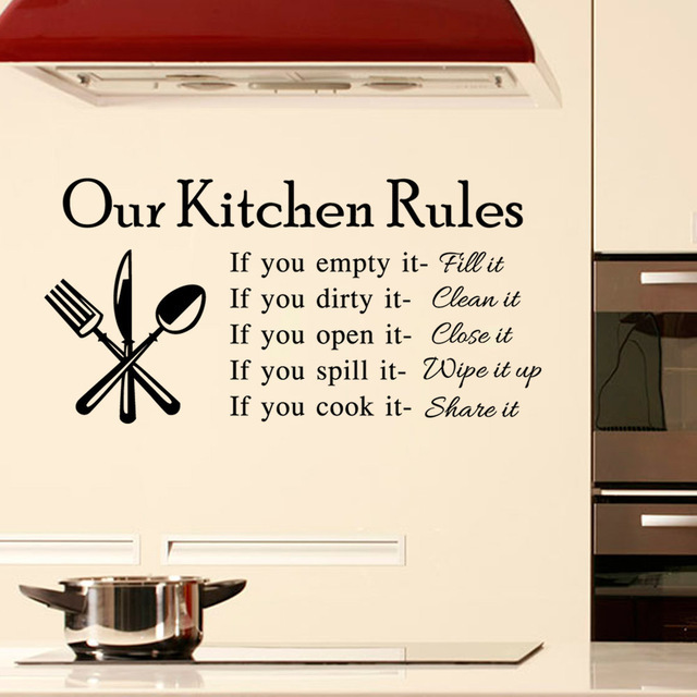 DIY Our Kitchen Rules Quotes Wall Sticker Vintage Home Decor Decal ...