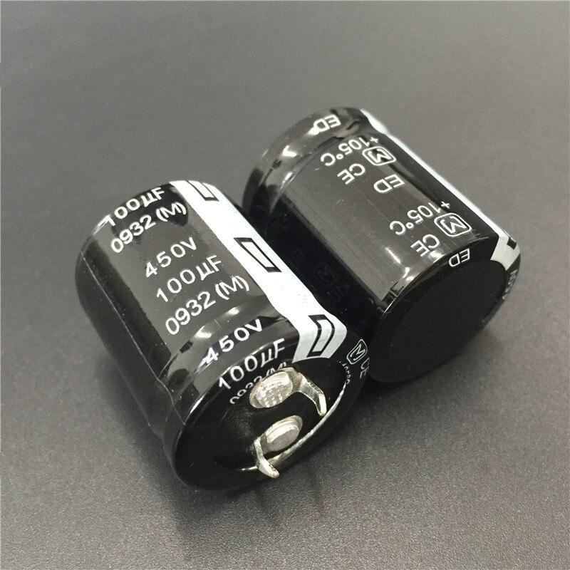 2Pcs/10Pcs 100uF 450V ED Series 25x30mm 450V100uF High Ripple Current Long Life Snap-in PSU Capacitor