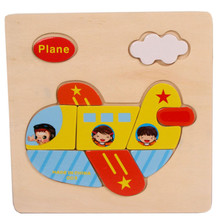 High Quality Wooden Plane Puzzle Educational Developmental Baby Kids Training Toy Free Shipping