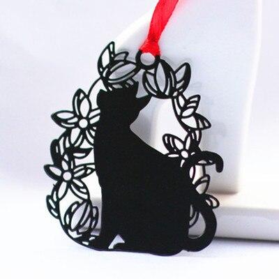 Mignon livre marque métal signet carton enveloppe sac pour enseignants jour cadeau chat noir signet