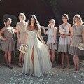 Romantic Short Sleeve Beacd Wedding Dress 2016 Hot Sale Gray Beading Chiffon Boho Vestido De Noiva