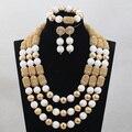 2017 Caliente Blanca de Coral Perlas Joyería Fija Nigeriano Beads Mujeres Collar de La Boda Africana Joyería Nupcial Conjunto Envío ShippingABH166