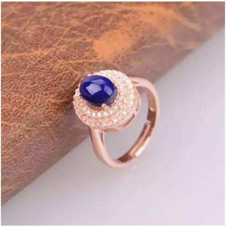 Natural Lapis ring Free shipping Natural real Lapis 925 sterling silver Ring Per jewelry 6*8mm hot sell new free shipping 925 sterling silver soldier boluomiduo theheart sutra scripture ring mens