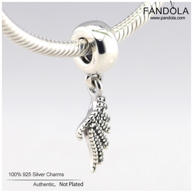 Fits Pandora Charms Bracelet Authentic 925 Sterling Silver Majestic Feather Clear CZ Dangle Charms Beads DIY Jewelry Making