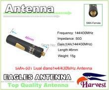 2 pçs/lote SMA-F colheita SMA-501 banda dupla 144/430 mhz ultracurt polegar antena para baofeng uv-5r uv-3r KG-UVD1P 2 vias rádio