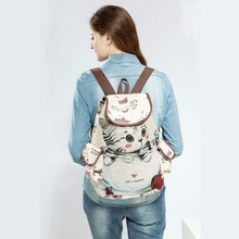 Women's Cute Canvas Backpack with Cat Themed Pattern