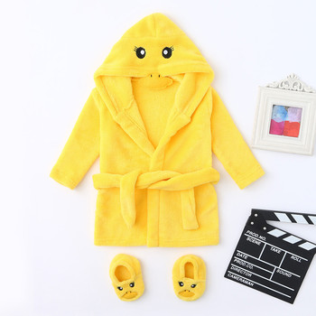 Newborn Baby Layette Boys Girls Baby Pajamas Cartoon Yellow Duck Style Flannel Bathrobes Hoodie Sleepwear Footwear Outfits 2Pcs