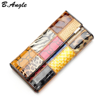 High Quality Different Pattern Joint Wallet Multifunctional Long Design Wallet Coin Holder Purse Card Holder Clutch