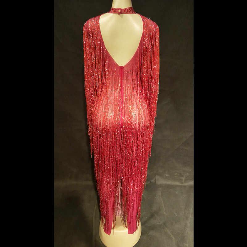 Parlak kırmızı kristaller uzun püskül elbise kadın şarkıcı saçak sahne performansı dans giyim balo parti Ds seksi sıska kostüm DJ DS
