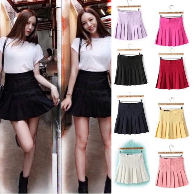 c4a65154fcf 2019 корейский стиль Харадзюку костюм Половина Длина юбка талии юбка  прекрасный плиссированные студент АА юбка брюки