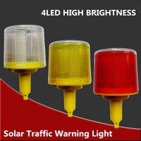 4LED Solaire Alimenté Avertissement de Trafic Lumière, blanc/jaune/rouge LED Solaire Sécurité Signal Cône balise D'alarme Lampe tour suspendus lumière