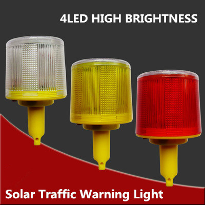 4LED Solar Powered Traffic Warning Light, white/yellow/red LED Solar Safety Signal Cone beacon Alarm Lamp tower hanging light