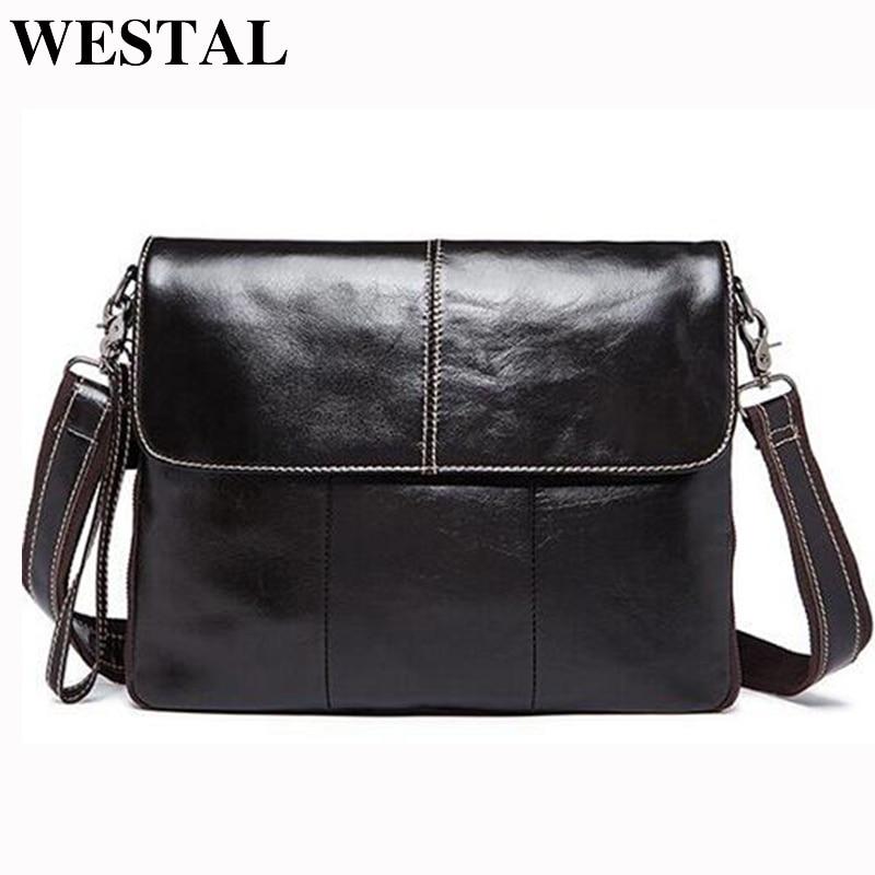 WESTAL Genuine Leather men's bags male messenger bag Men 's Shoulder Crossbody bags New design cowhide leather bag for men 8007 стоимость