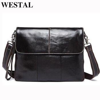 b8497fff4 WESTAL de cuero genuino de los hombres bolsos de hombre mensajero bolsa los  hombres de hombro, Crossbody bolsas de nuevo diseño de piel de vaca bolso  de ...