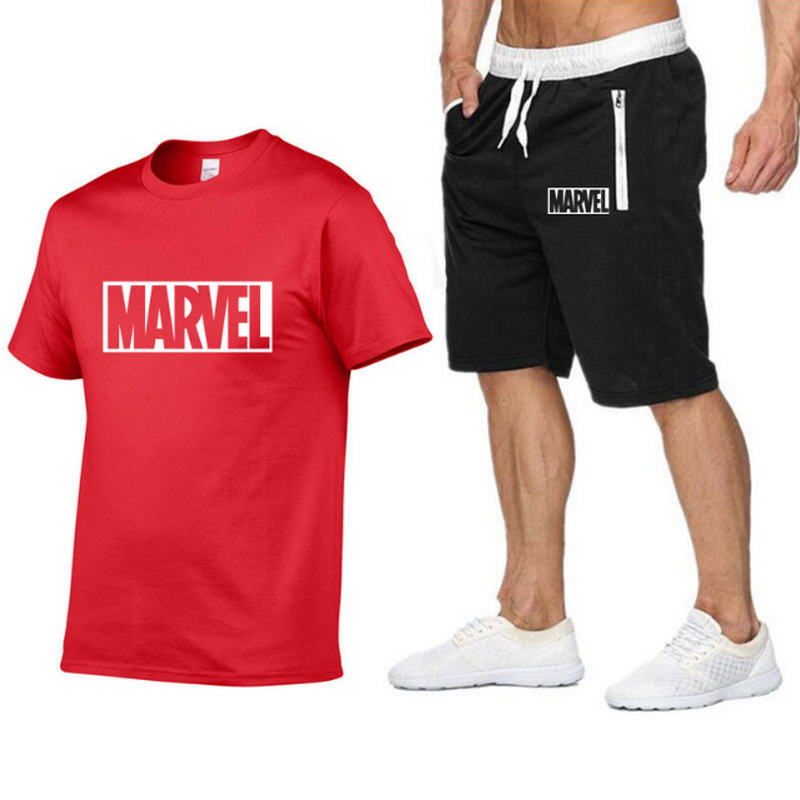 2019 New brand Tracksuit men T shirt suit 2 piece casual short sleeve o neck fashion printed cotton t shirt and shorts men in T Shirts from Men 39 s Clothing