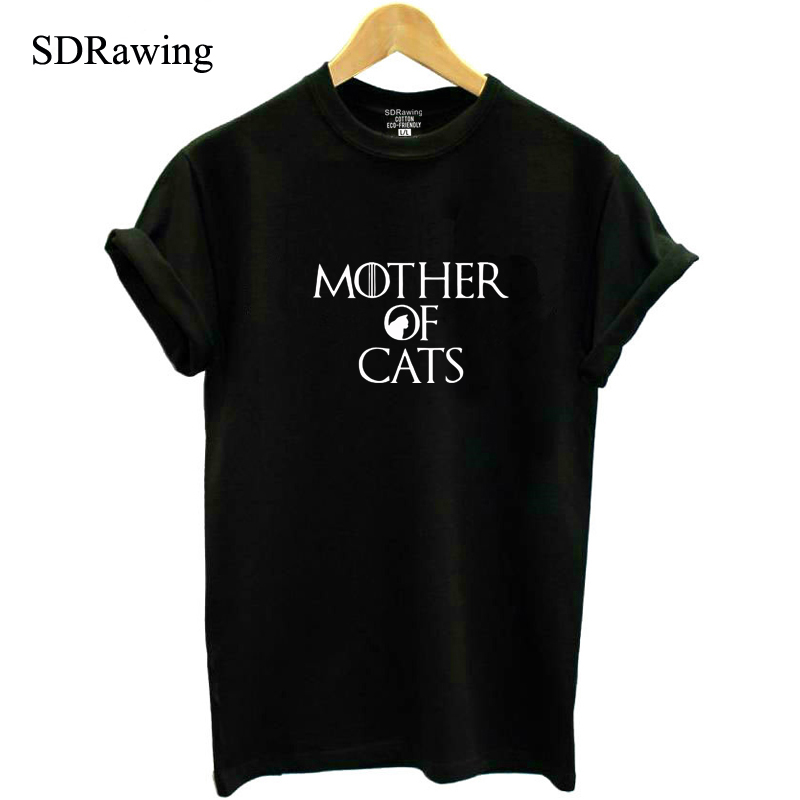 Funny Mother of Cats print cotton t shirt candy colors tops casual tees brithday gift for girl friend shirts plus size drop ship