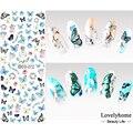 DS072 Дизайн Ногтей Вода Передача Ногтей Наклейки Цветные Бабочки Ногтей Обертывания Наклейки Watermark Ногтей Наклейки
