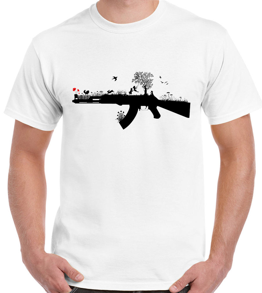 Banksy Style Ak47 Art Funny T Shirt Satire War Love In T Shirts