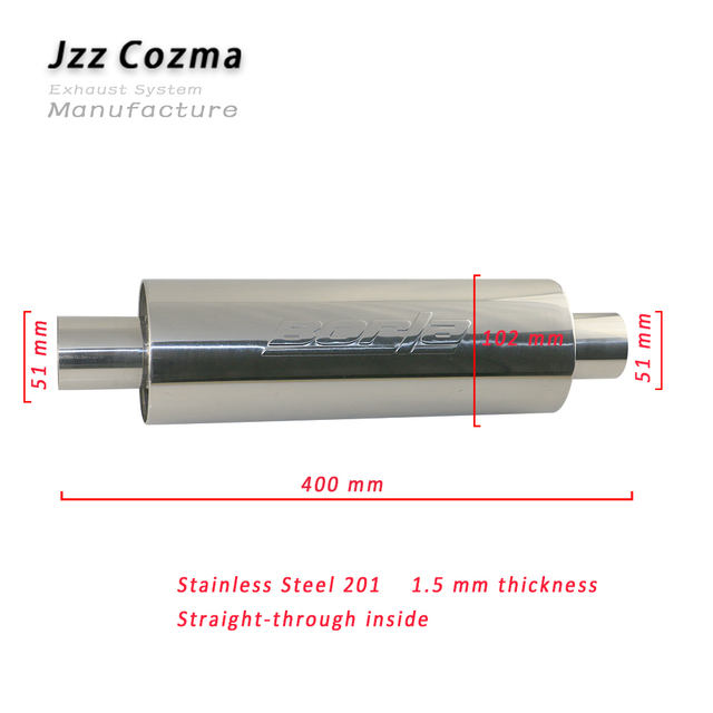 jzz universal 1mm thick borla exhaust resonator stainless steel 201 exhaust muffler 2 3 car replacement for mazda free ship