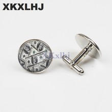XKXLHJ New Fashion 20mm cufflink Money Cuff Links 100 dollars cufflinks Handmade men shirt cufflinks(China)