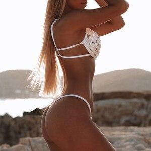 Image 3 - 레이스 스티치 비키니 2020 Mujer 섹시한 가죽 끈 브라질 비키니 자수 꽃 수영복 수영복 여성 수영복 여성을 밀어
