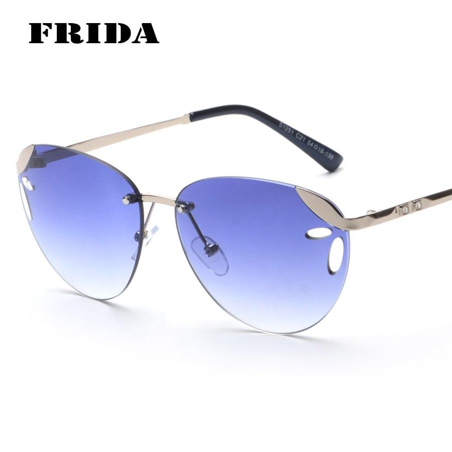 Rimless Glasses Fashion : FRIDA 2016 Fashion women Rimless sunglasses Brand Designer ...