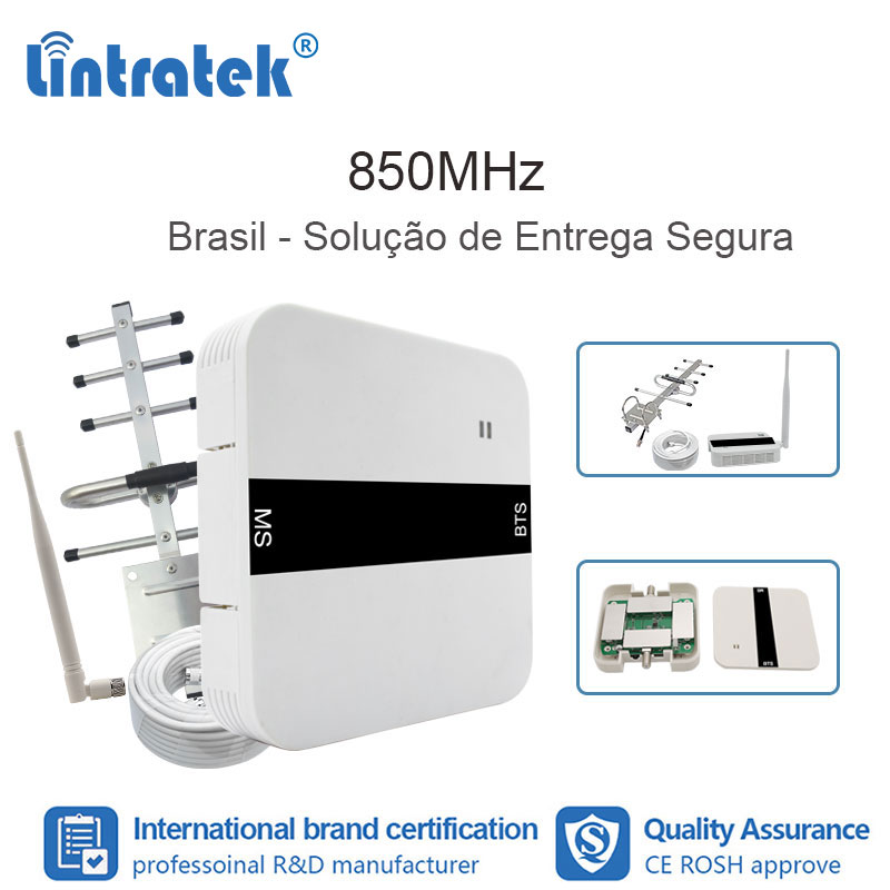 Lintratek 2G GSM 850 3G UMTS Mobile Phone Repeater CDMA Mobile Signal Repeater 850MHz Booster Antenna Mobile Brazil Set FL