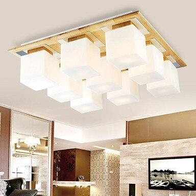 Eiche Und Glas LED Moderne Deckenleuchte Mit 9 Lichter Fr Wohnzimmer Leuchten Luminairas Lster De