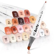 Маркер Arrtx 24 цвета набор Blendable alcol двухконцевые маркеры тон кожи для портретной иллюстрации рисунок с сумкой для переноски