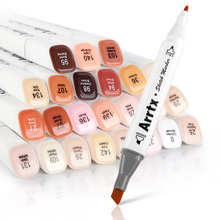 قلم ماركر من Arrtx طقم 24 لونًا من أقلام التلوين القابلة للمزج والكحول ثنائي الطرف لتحديد لون البشرة للرسم التوضيحي للبورتريه مع حقيبة للحمل