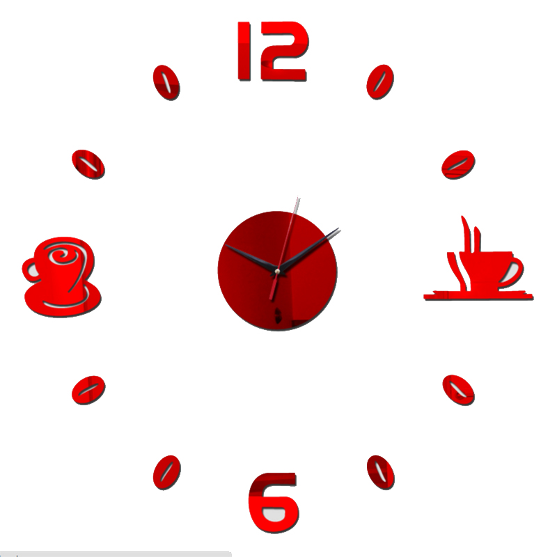 2017 new hot sale diy wall clock watchesModern living europe large decorative 3D mirror acrylic horloge Home Decoration ...