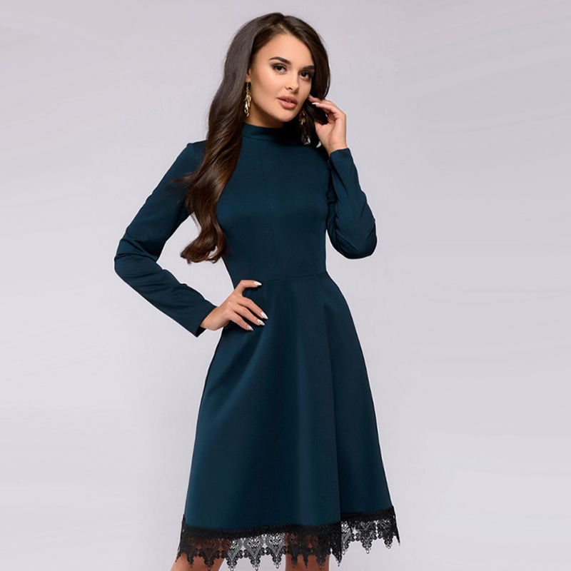 b6e8d96b8d Women Vintage Lace Patchwork Party Dress Long Sleeve Stand Collar Solid  Knee Length Dress 2018 Autumn New Fashion Women Dress-in Dresses from  Women s ...