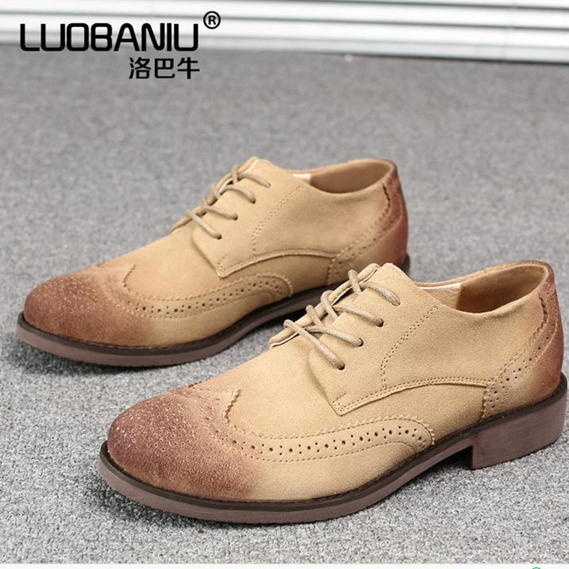 Bullock carved retro men shoes Genuine Leather Flats  Men's casual shoes Brands lace-up Oxford shoes chaussure homme sapatos