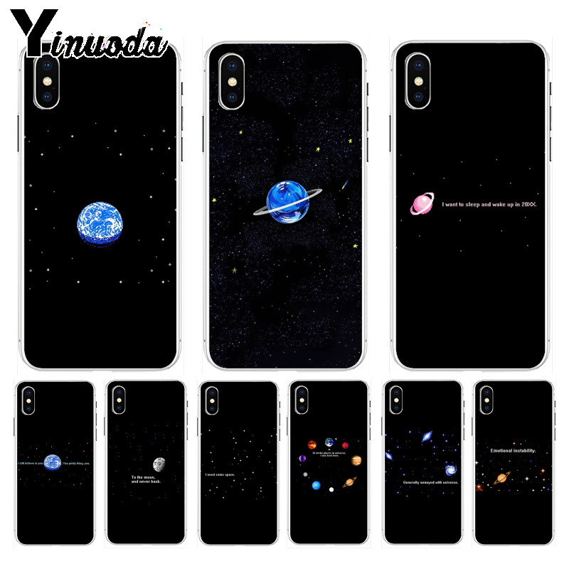 Radient Yinuoda Space Earth Moon Solar System Star Pixel Hot Printed Cool Phone Case For Apple Iphone 8 7 6 6s Plus X Xs Max 5 5s Se Xr Utmost In Convenience Half-wrapped Case