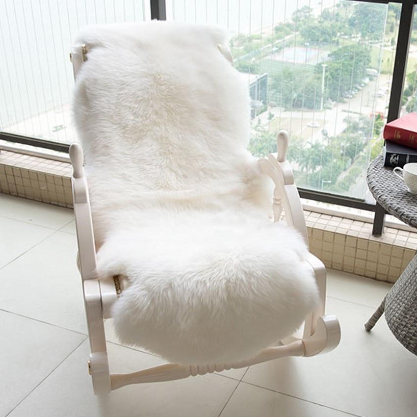 2P big size sheepskin rug for rocking chair , winter beige white shaggy sheep fur sofa mat for home decoration